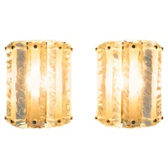 Pair of 1970s Italian Green Glass Wall Lights in the Style of Fontana Arte