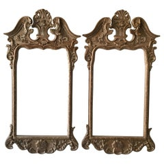Pair of 1970s Italian Hand Carved Wood Frames  For Mirrors