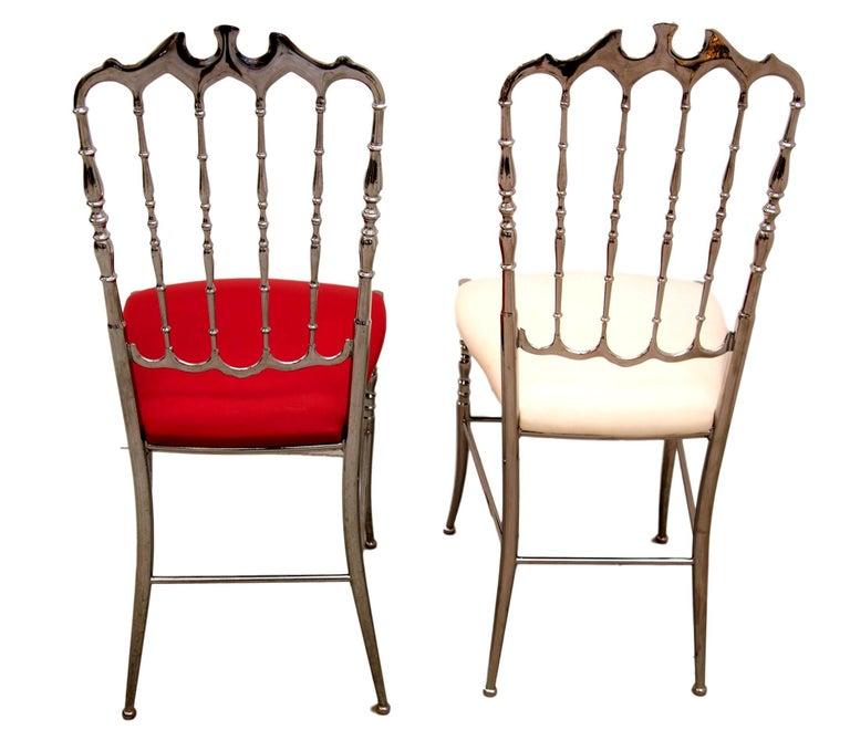 20th Century Pair of 1970s Italian Metal Silver Chiavari Chairs For Sale