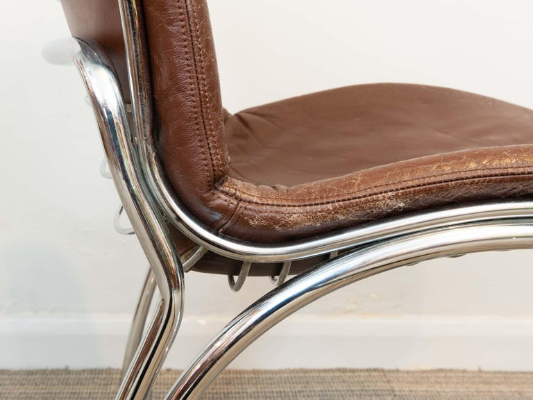 Faux Leather Pair of 1970s Italian Sabrina Chrome Dining Chairs by Gastone Rinaldi for Rima For Sale