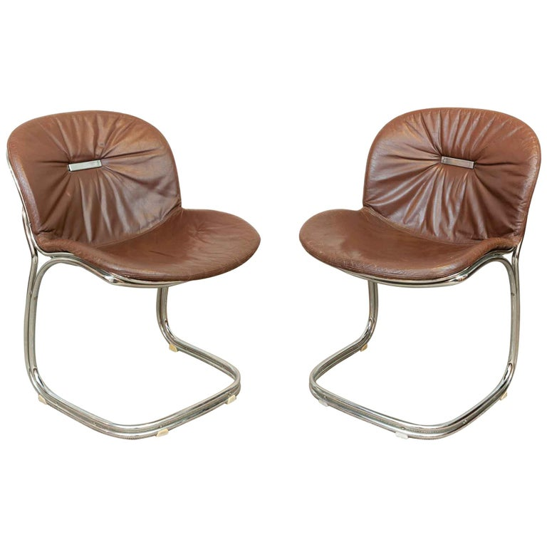 Pair of 1970s Italian Sabrina Chrome Dining Chairs by Gastone Rinaldi for Rima For Sale