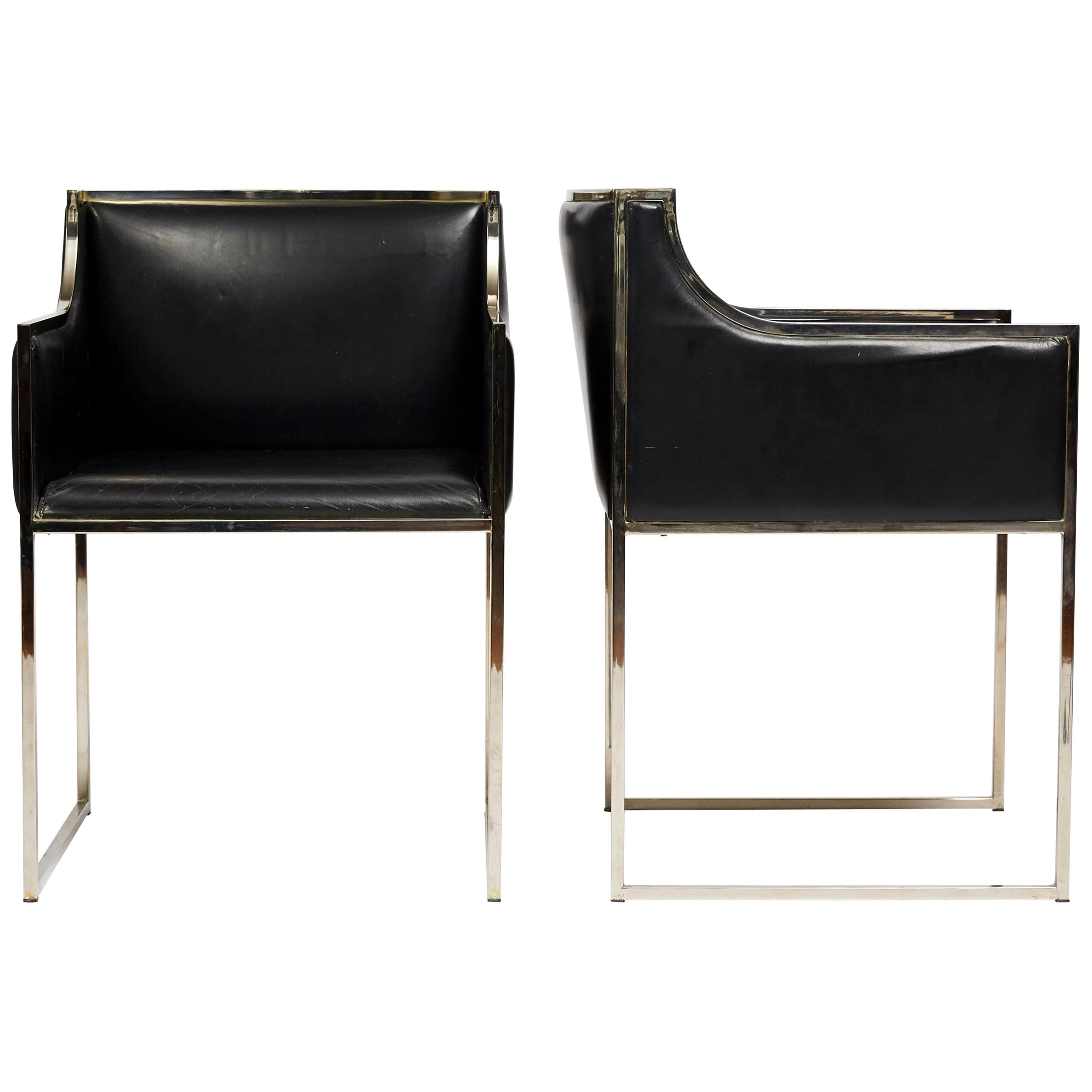 Pair of 1970s Italian Vintage Chairs in Original Black Leather with Chrome Frame