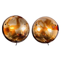 Pair of 1970s J.T Kalmar Murano Amber and Clear Glass Wall Sconces