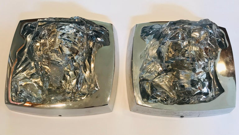 Pair of 1970s Kalmar Ice Crystal Wall Lights For Sale 3
