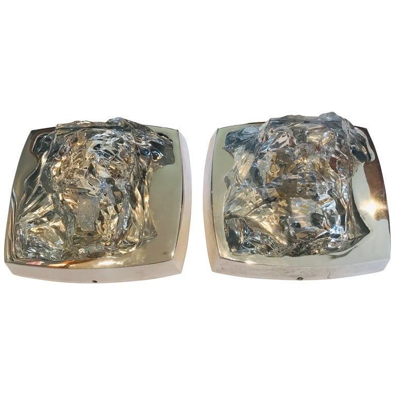 Pair of 1970s Kalmar Ice Crystal Wall Lights For Sale