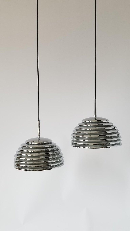 Pair of 1970s Kazuo Motozawa Chrome Louvered Pendant '' Saturno '', Germany For Sale 1