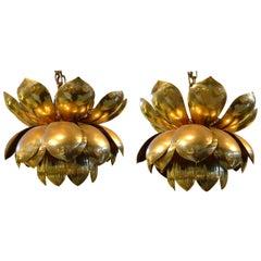 Pair of 1970s Large Brass Lotus Pendant Lights by Feldman