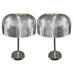 Pair of 1970s Lightolier Aluminium Metal Table Lamps