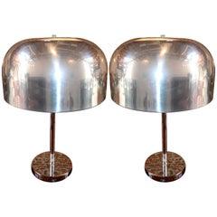 Pair of 1970s Lightolier Aluminium Table Lamps