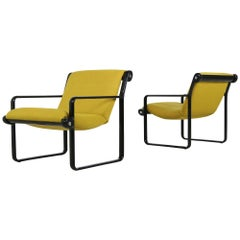 Pair of 1970s Lounge Chairs by Hannah & Morrison for Knoll Dark Yellow & Black