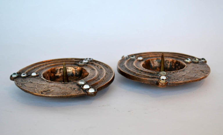 European Pair of 1970s Low Bronze Cast Candleholders For Sale