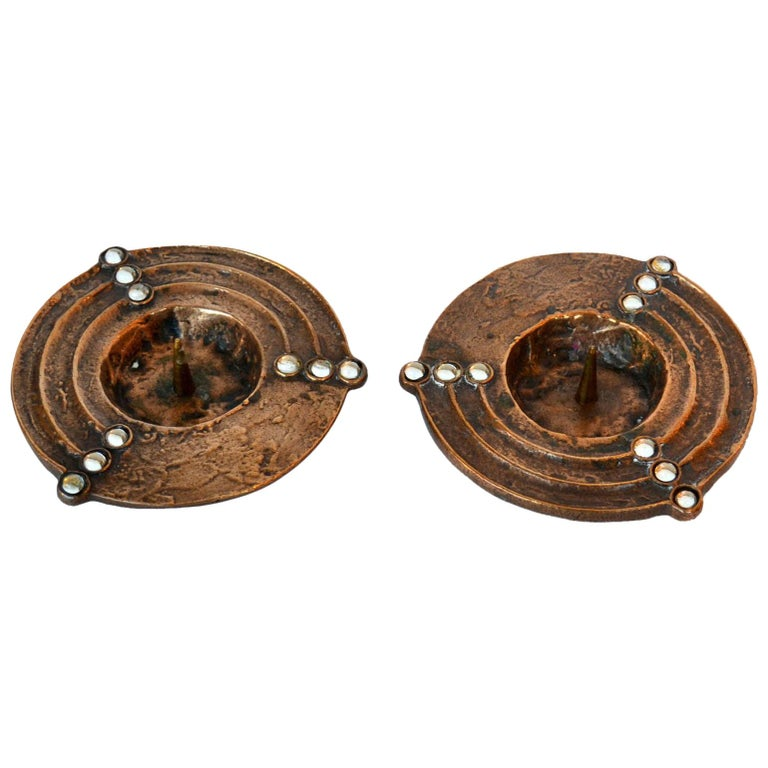 Pair of 1970s Low Bronze Cast Candleholders For Sale