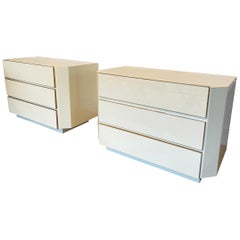 Pair of 1970s Lucite and Brass Chest of Drawers