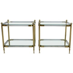 Pair of 1970s Lucite and Brass Two-Tier Side Tables