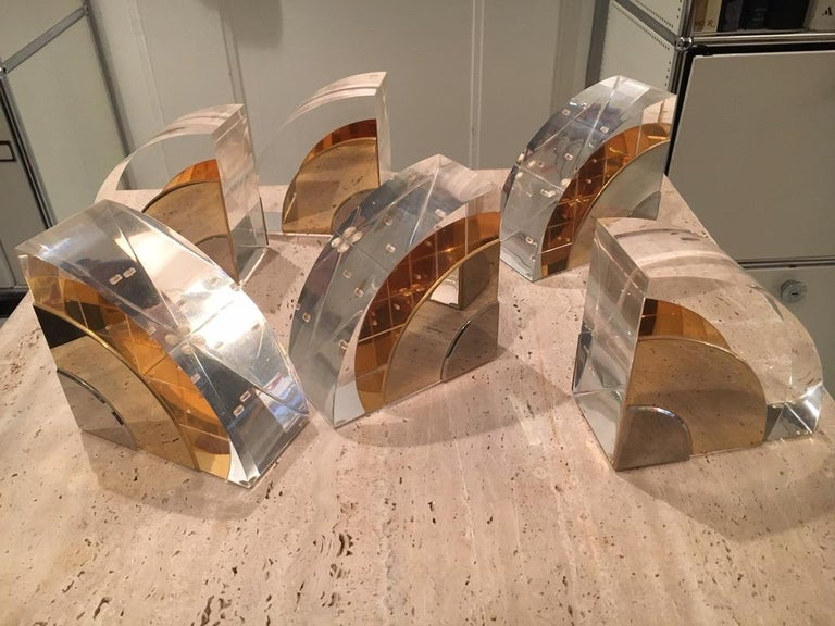 Late 20th Century Pair of 1970s Lucite and Brass Bookends For Sale
