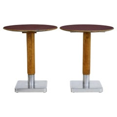 Pair of 1970s Mahogany and Steel Bistro Tables