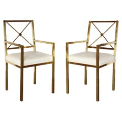 Pair of 1970s Mastercraft Brass Armchairs with Ivory Ostrich Seats
