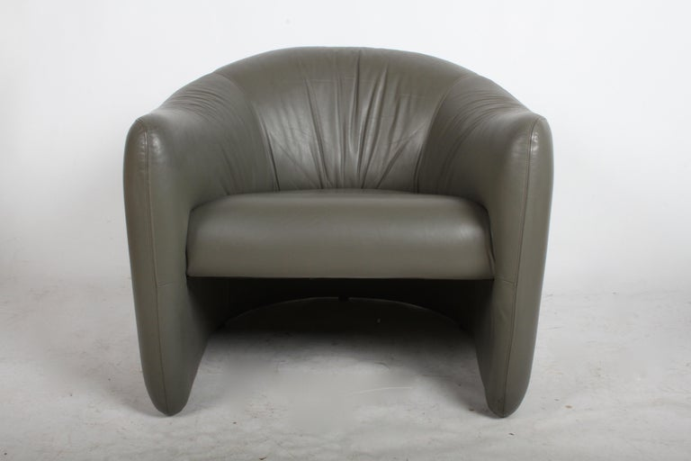 Late 1970s art scene describes these vintage lounge chairs by Jules Heumann for metropolitan Furniture Company of San Francisco or Metro, in seal gray leather. Vintage condition, so priced accordingly, may choose to reupholster, only one chair