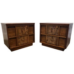 Pair of 1970s Mid-Century Modern Brutalist Pueblo Nightstands by Lane