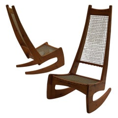 1970s Midcentury Sculptural Rocking Chairs by Jeremy Broun 2 available