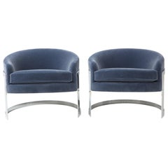 Pair of 1970s Milo Baughman Style Club Chairs