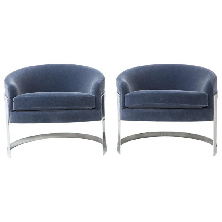 Pair of 1970s Milo Baughman  Club Chairs For Sale