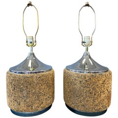 Pair of 1970s MOD Cork Lamps