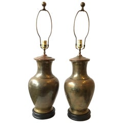 Pair of 1970s Ginger Jar Copper Table Lamps