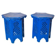 Pair of 1970s Moroccan Hexagonal Wooden Small Blue Tables