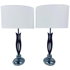 Pair of 1970s Nova Chrome and Walnut Wood Lamps with New Cotton Linen Shades
