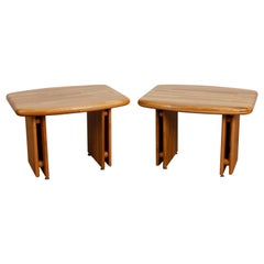 Pair of 1970s Oak End Tables Attributed to Lou Hodges