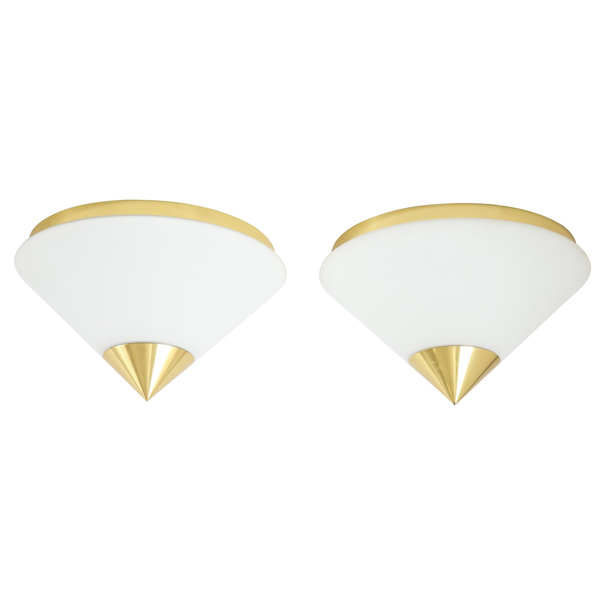 Pair of 1970s Opaline and Brass Flush Mount / Sconce by Limburg