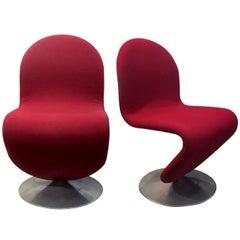 Pair of 1970s Original Danish Verner Panton 1-2-3 Series Swivel Dining Chairs