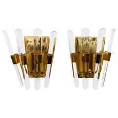 Pair of 1970s Oscar Torlasco Golden Crystal Wall Lights