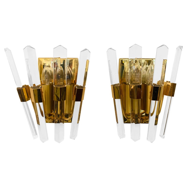 Pair of 1970s Oscar Torlasco Golden Crystal Wall Lights For Sale