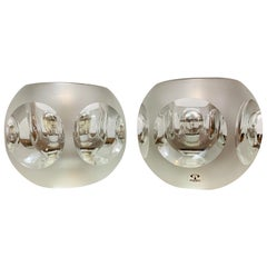 Pair of 1970s Peill and Putzler Frosted Glass Round Ice Cube Table Lamps