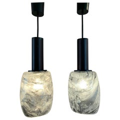 Pair of 1970s Peill & Putzler Grey Marbled Glass Pendant Hanging Ceiling Lights