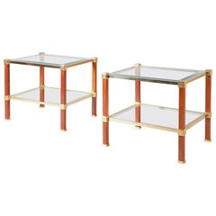 Pair of 1970s Pierre Vandel Fruitwood and Glass Side Tables