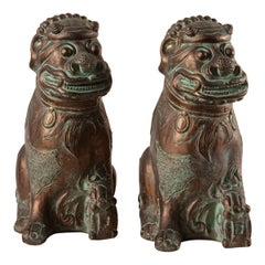 Pair of 1970s Plaster Foo Dogs