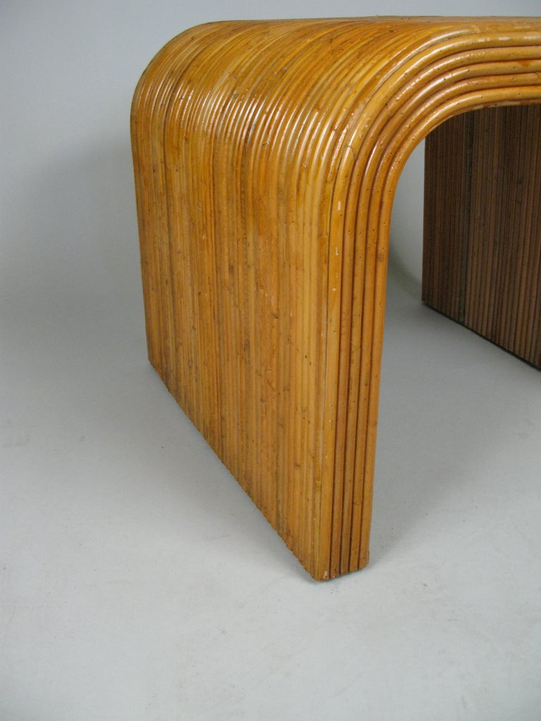American Pair of 1970s Rattan Waterfall Tables For Sale