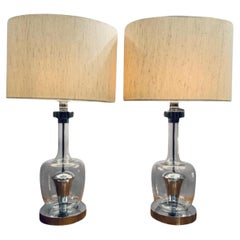Pair of 1970s Richard Essig Style Space Age Glass & Chrome Table Lamps Inc Shade