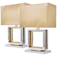 Pair of 1970s Romeo Rega Chrome and Brass Italian Lamps