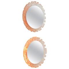 Pair of 1970s Round German Illuminated Lucite Mirrors