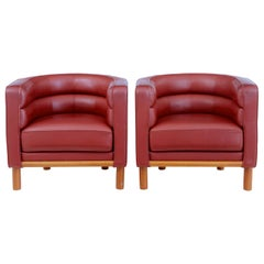 Pair of 1970s Scandinavian Large Red Leather Club Armchairs