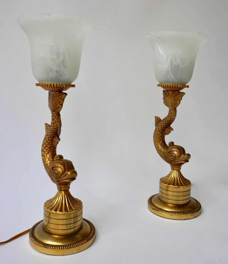Hollywood Regency Pair of 1970s Sculptural Brass and Glass Koi Fish Lamps For Sale