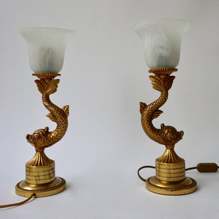 French Pair of 1970s Sculptural Brass and Glass Koi Fish Lamps For Sale