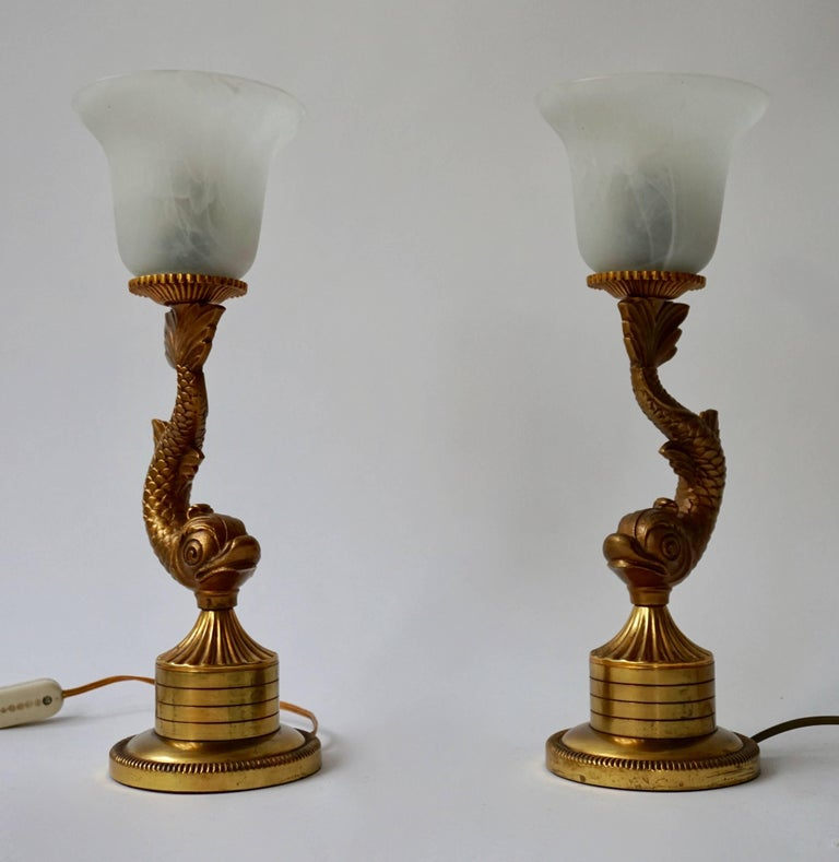 Pair of 1970s Sculptural Brass and Glass Koi Fish Lamps In Good Condition For Sale In Antwerp, BE