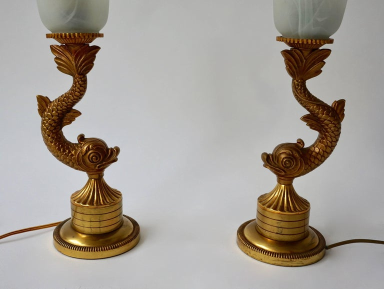 Pair of 1970s Sculptural Brass and Glass Koi Fish Lamps For Sale 1