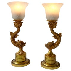 Pair of 1970s Sculptural Brass and Glass Koi Fish Lamps