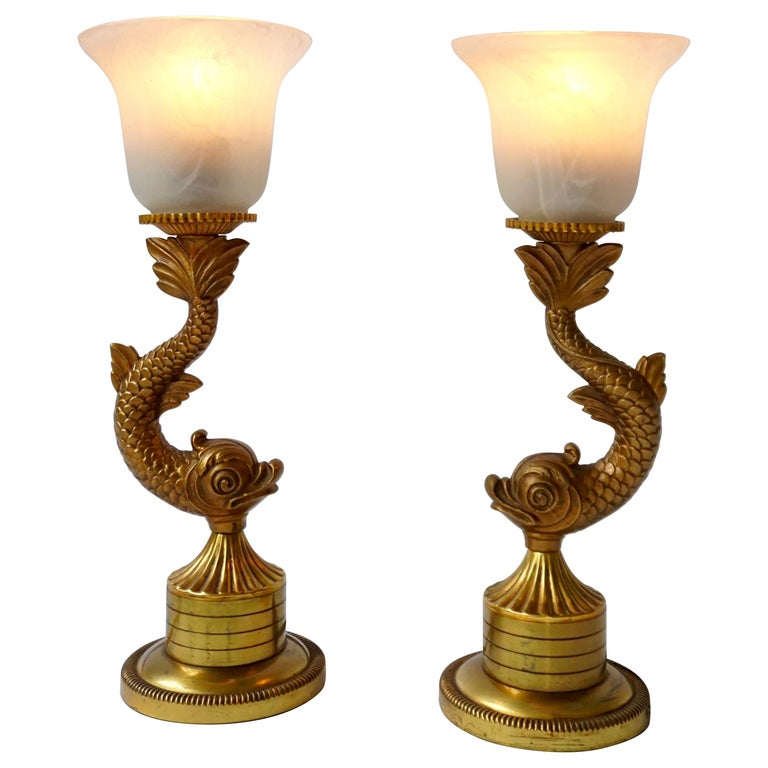Pair of 1970s Sculptural Brass and Glass Koi Fish Lamps For Sale